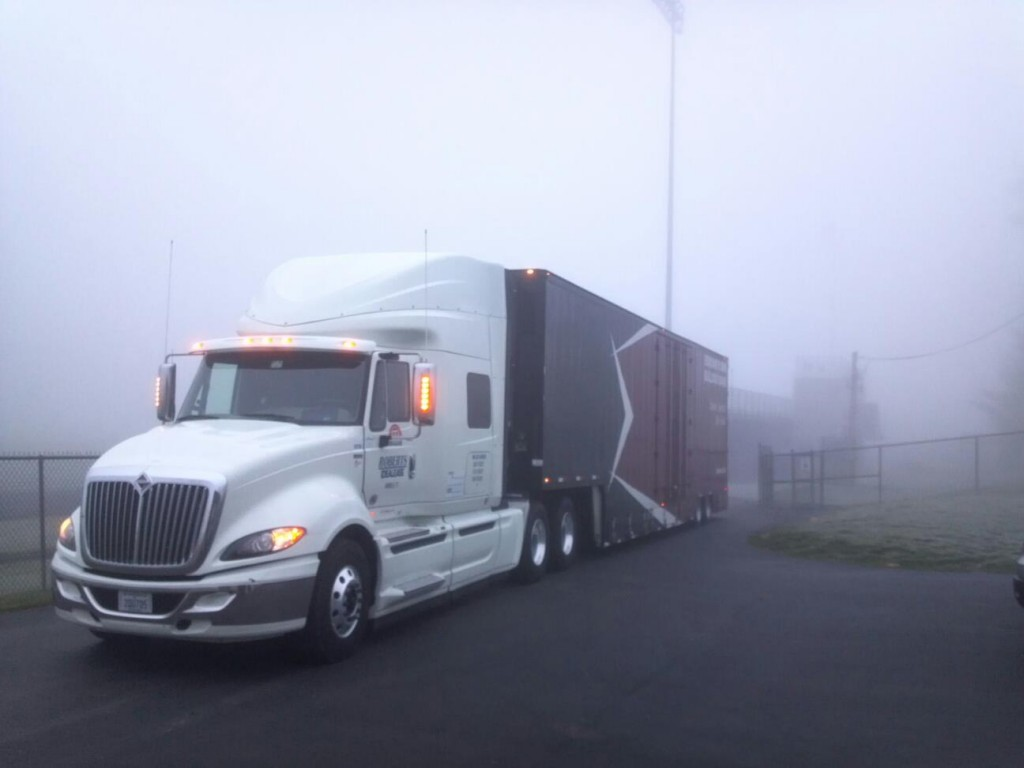 International Pro Star + with Edmond Memorial's new Semi Equipment Trailer in Indianapolis.