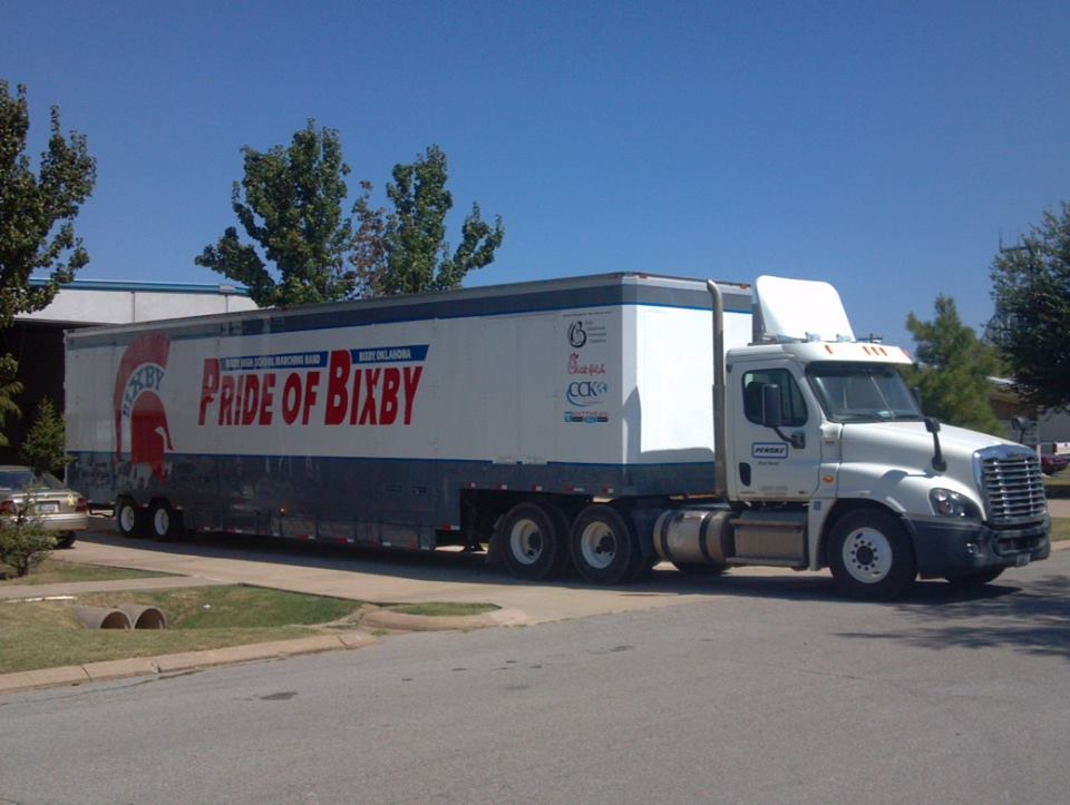 Bixby High School Marching Band Semi Equipment Trailer White and Grey