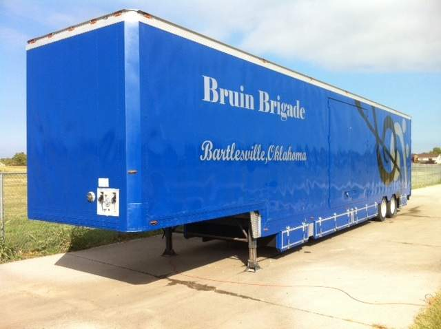 Bartlesville Band Semi Trailer exterior was finished by band parents and gracious donors.