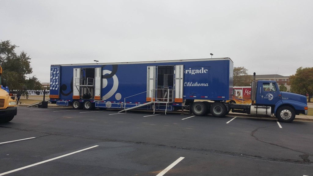 Bartlesville Band Semi Equipment Trailer set-up at State Competition in 2015