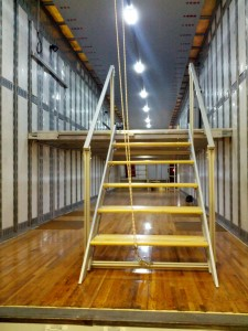 High School Semi Trailer Interior. Sliding + Folding Staircase with 2 floor LED lighting