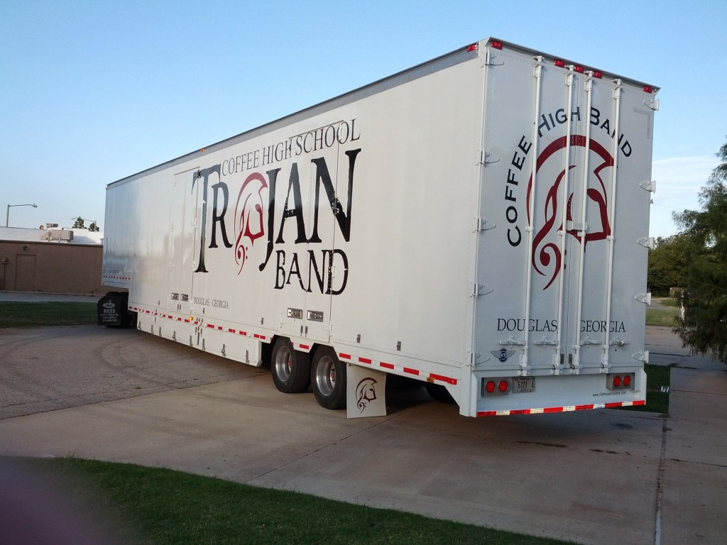 Coffee High School Band Semi Trailer Leaving the Clubhouse with new Graphics and interior buildout
