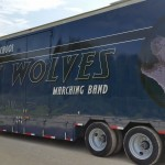Shoemaker High School's Blue Semi Trailer just after graphics application.