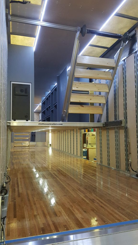 Clubhouse Trailers Interior Retracting Staircase for Marching Band Semi Trailers