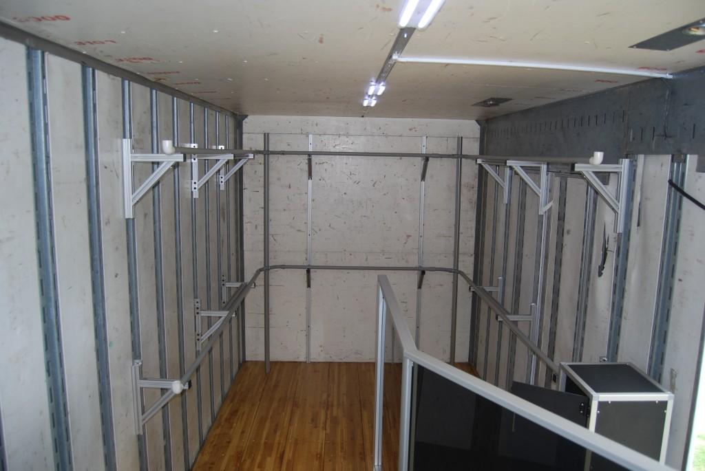Marching Band Uniform Storage in Semi Equipment