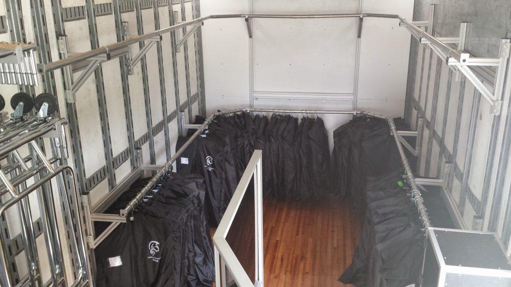 Coffee High School Marching Band Uniform Storage in Semi Equipment Trailer
