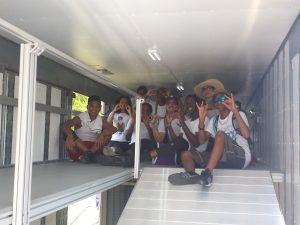 Killeen Students Exploring the interior upper deck of their semi trailer