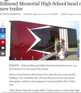 Edmond Memorial band members shown new trailer