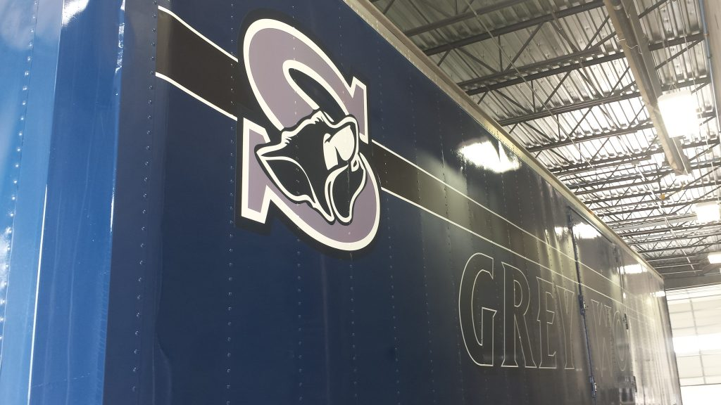 Shoemaker High School Semi Trailer in the graphics application phase