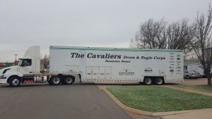 The Cavaliers Drum & Bugle Corps Semi Trailer arriving at Clubhouse Trailers.