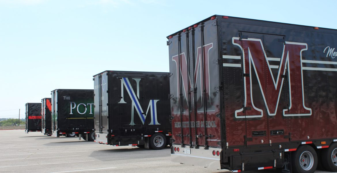 Mesquite ISD High School Marching Band Trailers on Display