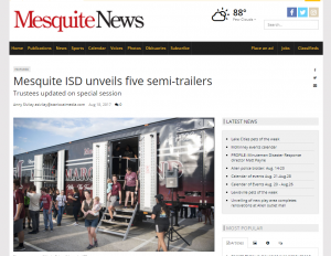 Mesquite ISD High School Bands Unveils five semi-trailers