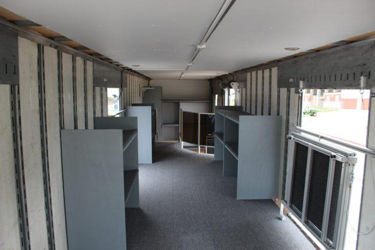 Instrument Storage in Marching Band Semi Equipment Trailer. 2nd Floor Interior Design