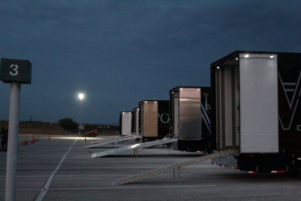 Mesquite ISD Marching Semi Trailers Ramps at Night