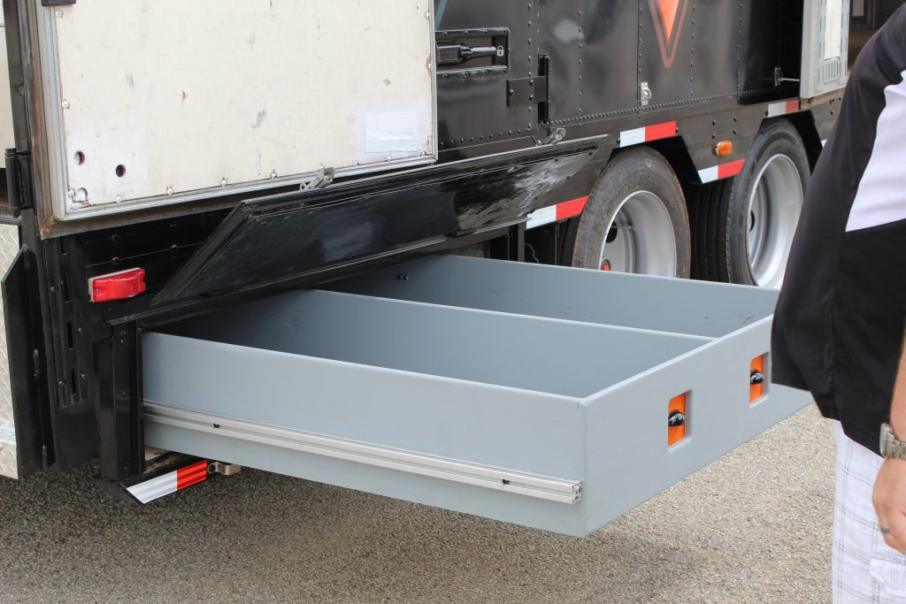 Color Guard Flag and Rifle Storage in High School Semi Trailer Bellybox Storage Drawers
