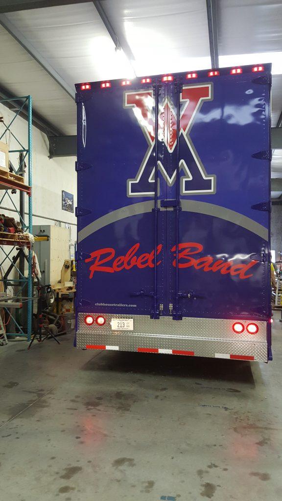 West Monroe Louisiana High School Marching Band Semi Trailer Rear Doors and Custom Diamond Treadplate Bumper