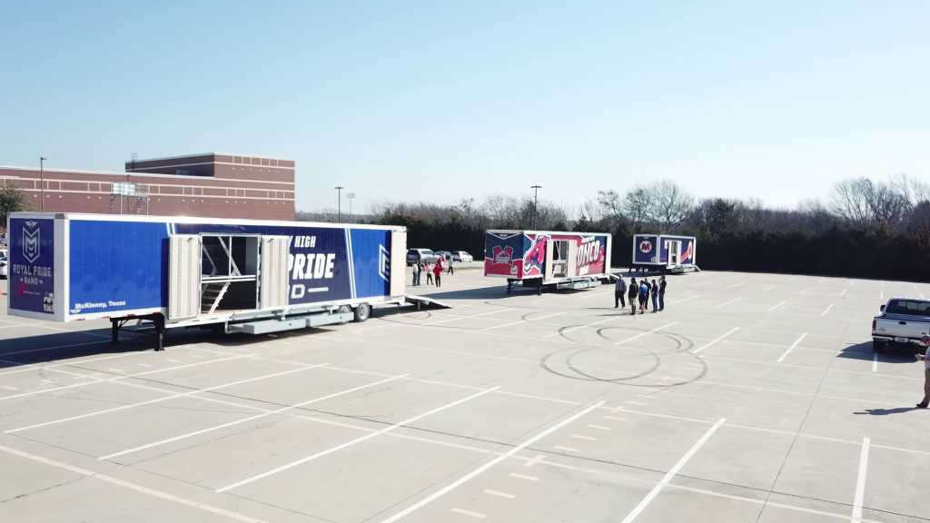 McKinney High School Marching Band Semi Equipment Trailer Outside Photo