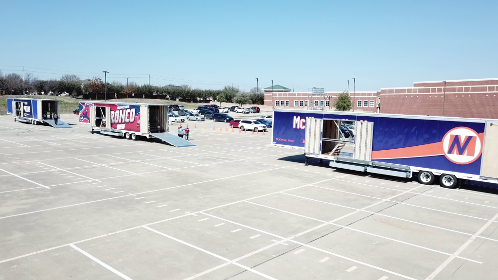 McKinney ISD Delivery of 3 Brand New Marching Band Semi Trailers!