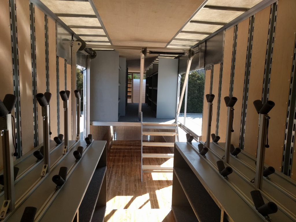Custom Euphonioum Holders and Second Floor Instrument Storage for Marching Band Semi Trailer