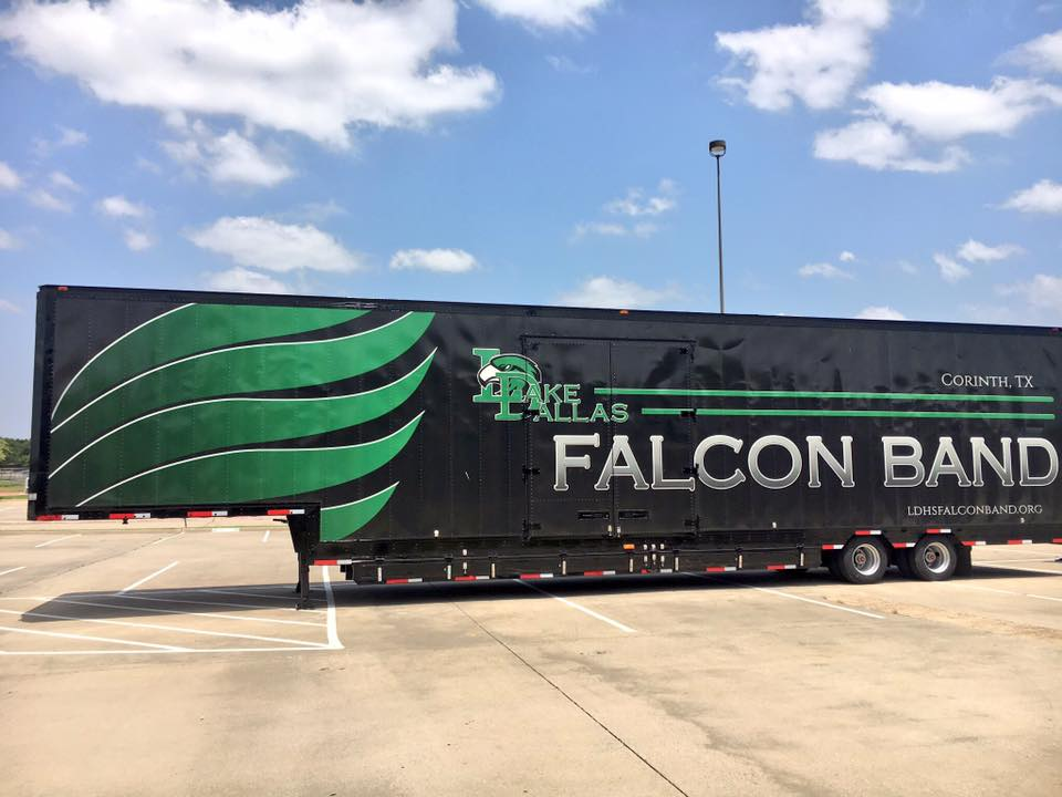 Lake Dallas High School Falcon Band's beautiful new Semi Equipment Trailer - Clubhouse Trailers 2018
