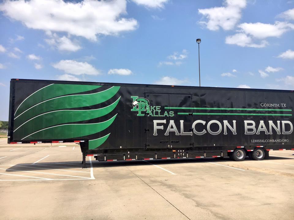 Lake Dallas High School Falcon Band's beautiful new Semi Equipment Trailer - Clubhouse Trailers 2018