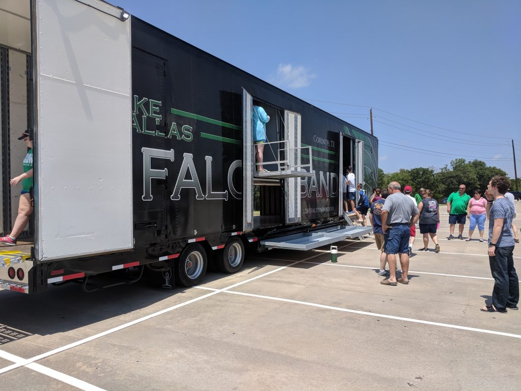 Lake Dallas High School Falcon Band Semi Equipment Trailer on display for walk through tours during their unveiling!