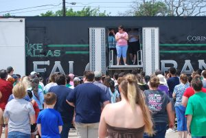 Lake Dallas High School Marching Band Semi Equipment Trailer, and Director's Platform