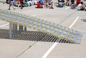 Aluminum Ramps for Loading and Unloading Equipment in Marching Band Semi Equipment Trailer