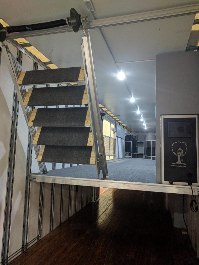 Interior 2nd Floor Staircase for High School Marching Band Semi Trailer