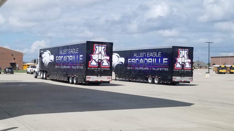 Allen High School ordered two semi trailers for their Marching Band!
