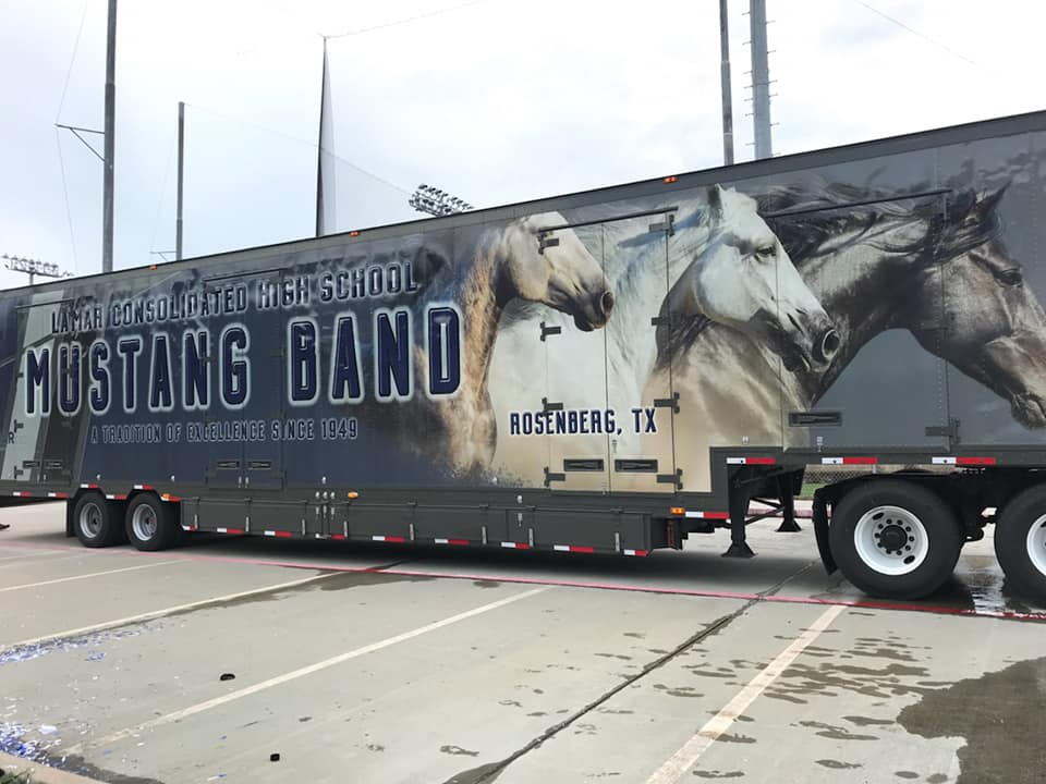 Lamar Consolidated High School Marching Band Semi Equipment Trailer Mustang Exterior Graphics Wrap Mustang Horses