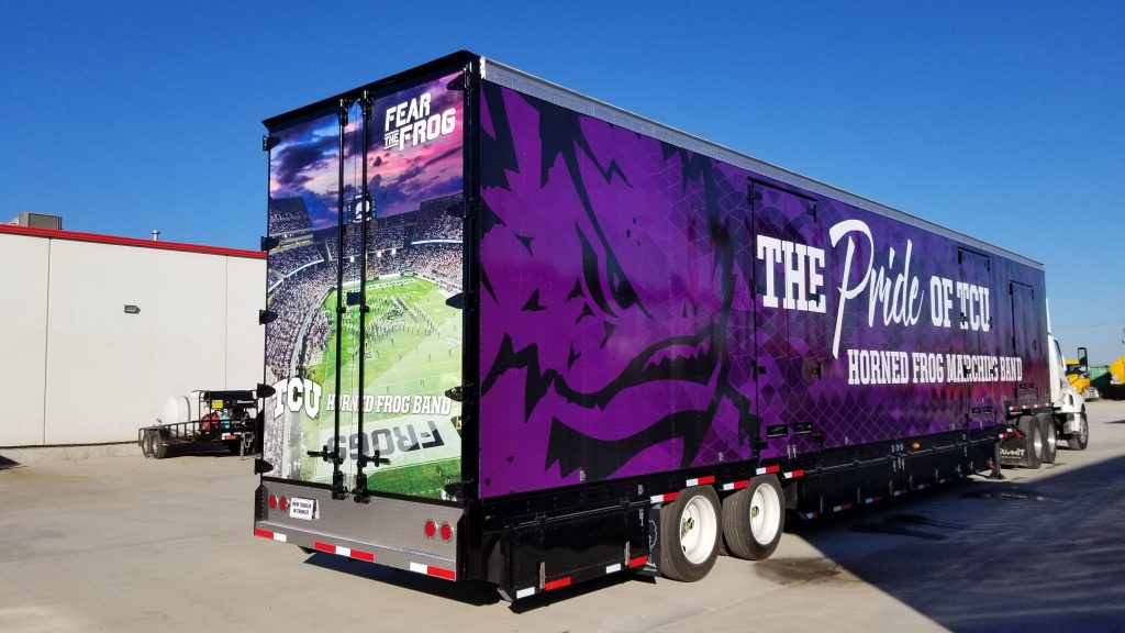 TCU Marching Band Brand new semi equipment trailer