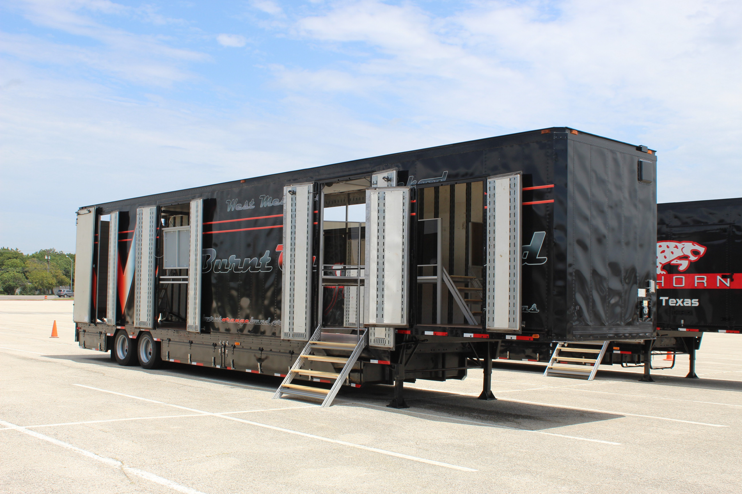 West Mesquite High School Marching Band Semi Equipment Trailer with Side Staircase and 2nd Floor