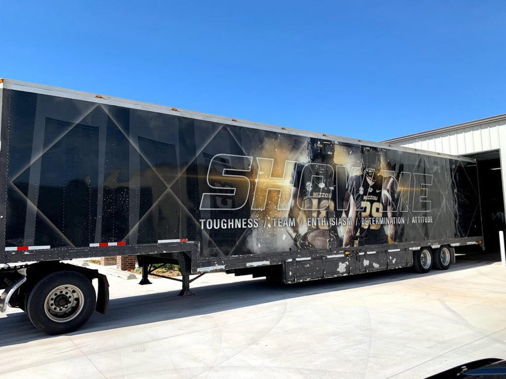 University of Missouri Football Semi Trailer in progress being painted!