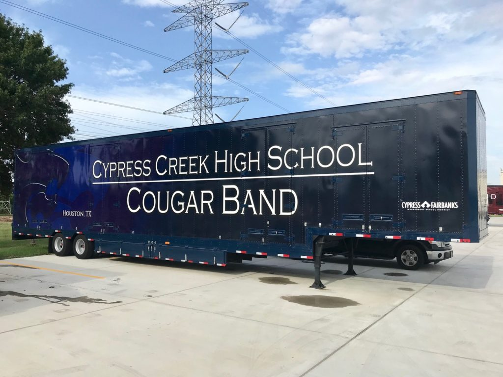 Cypress Creek High School Marching Band Semi Equipment Moving Trailer Exterior Graphics Vinyl Blue