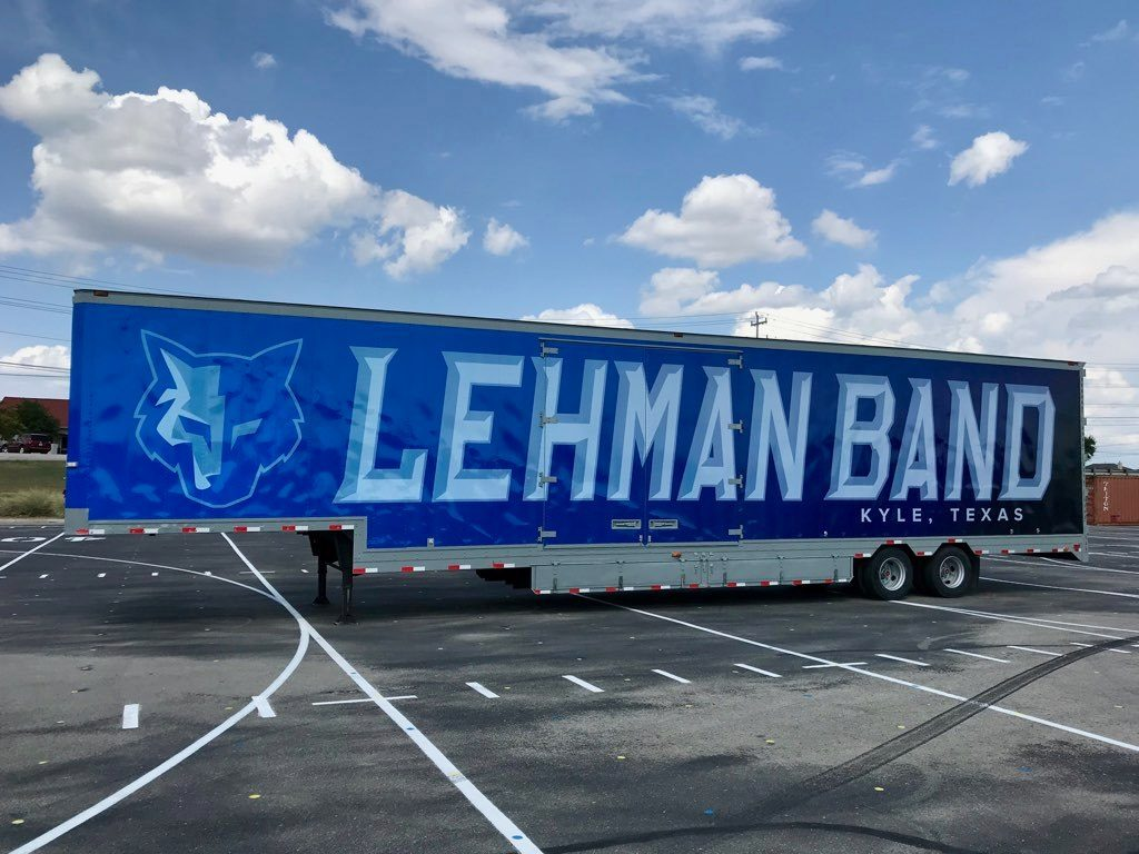 Lehman High School Marching Band Semi Equipment Moving Trailer Exterior Blue Vinyl Graphic Wrap
