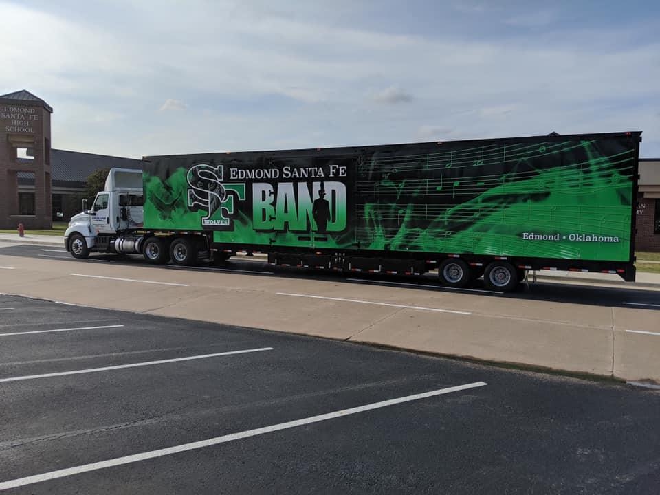Santa Fe High School Marching Band Semi Trailer Moving Van Exterior Graphics Vinyl Wrap Green Black