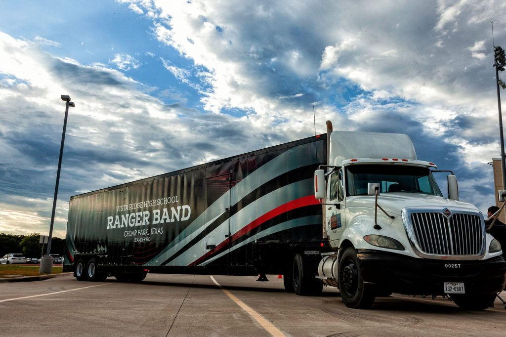 Vista Ridge High School Marching Band Semi Equipment Moving Trailer
